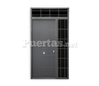 Puerta para exteriores 50al con cristal negro - Puertas kiuso ...